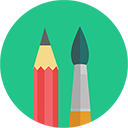 Color pencil and paintbrush icon