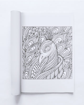 art therapy coloring book page with complex design