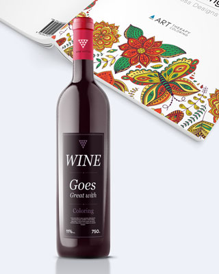 art therapy coloring book with wine bottle