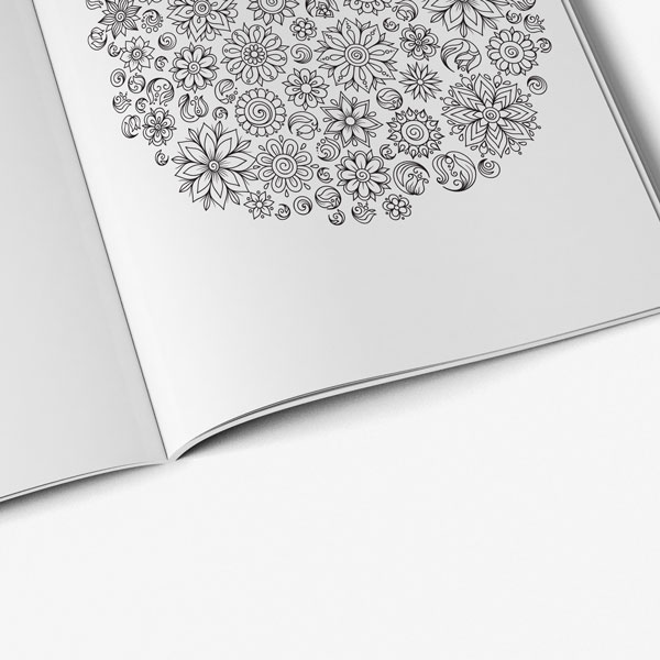 50 anti stress designs-flower circle page
