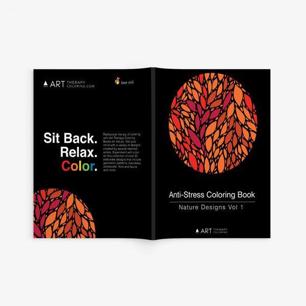 Anti Stress Coloring Book Nature Designs Vol 1 spread cover