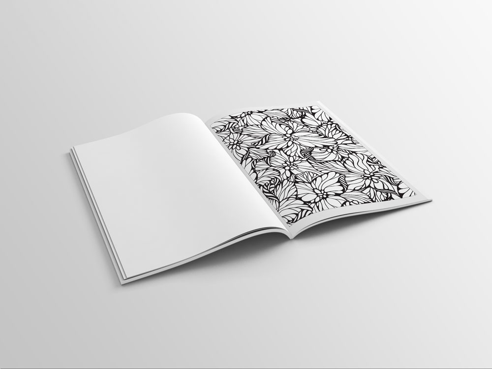 adult coloring book with flower designs