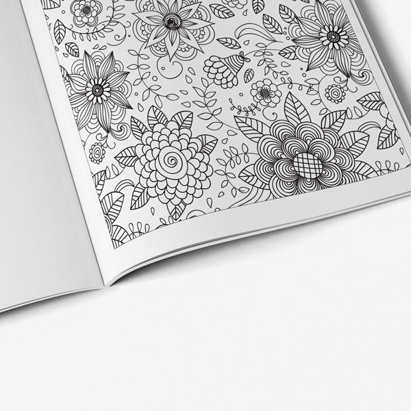 anti-stress coloring book floral designs vol 1 flower pattern page zoomed in