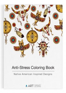 Stress relief coloring book native american inspired designs transparent Cover