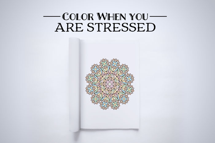 color when stressed coloring book page