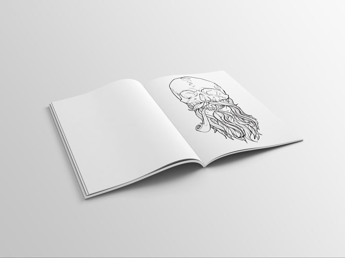 mens coloring book page of a skull