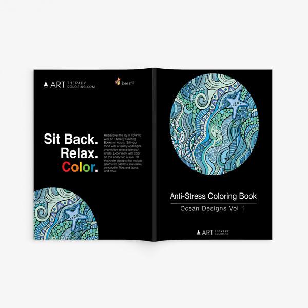 Anti Stress Coloring Book Ocean Designs Vol 1-2