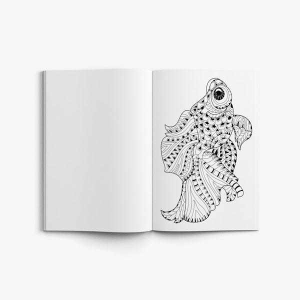 Anti Stress Coloring Book Ocean Designs Vol 1-5