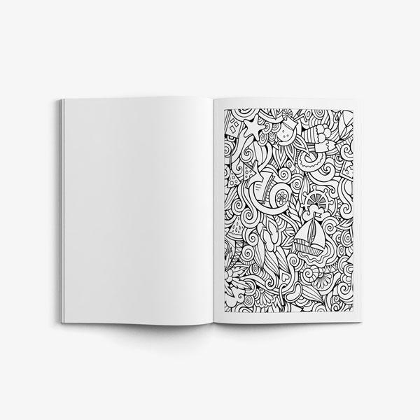 Anti Stress Coloring Book Ocean Designs Vol 1-6