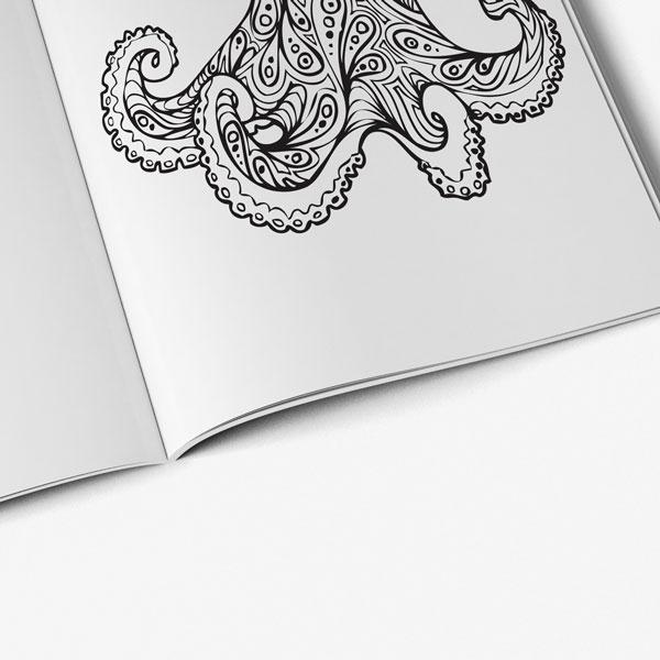 Anti Stress Coloring Book Ocean Designs Vol 1-7