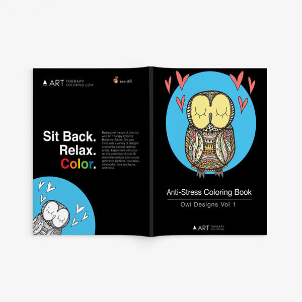 Anti Stress Coloring Book Owl Designs Vol 1-2