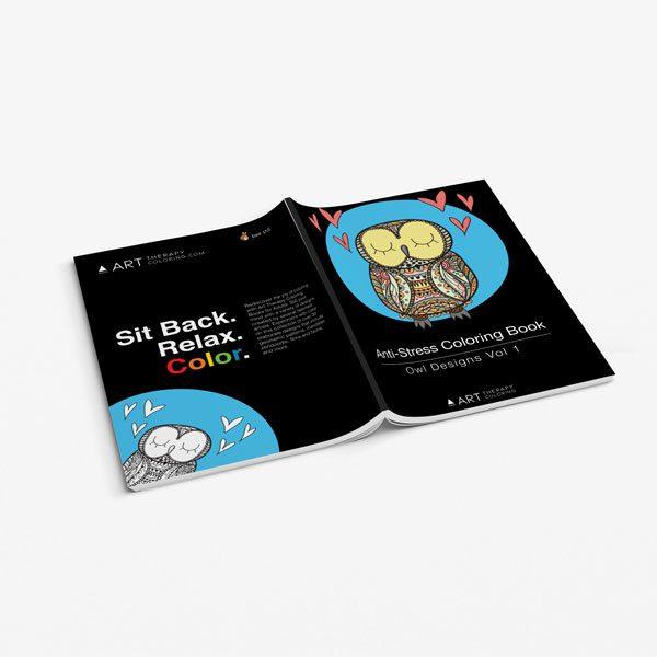 Anti Stress Coloring Book Owl Designs Vol 1-3