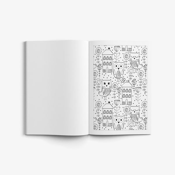 Anti Stress Coloring Book Owl Designs Vol 1-5