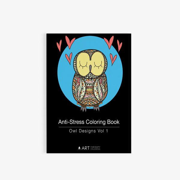 Anti Stress Coloring Book Owl Designs Vol 1