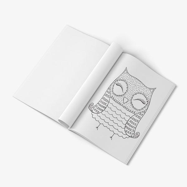 Anti Stress Coloring Book Owl Designs Vol 1-8