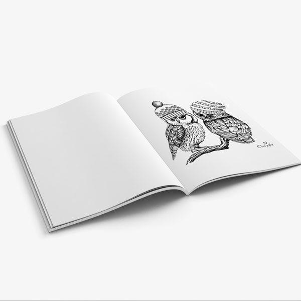 Anti Stress Coloring Book Owl Designs Vol 1-9