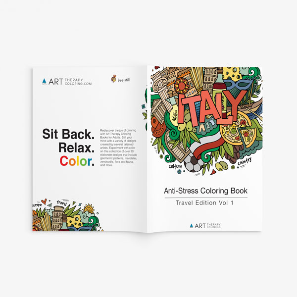Anti Stress Coloring Book Travel Edition Vol 1-2