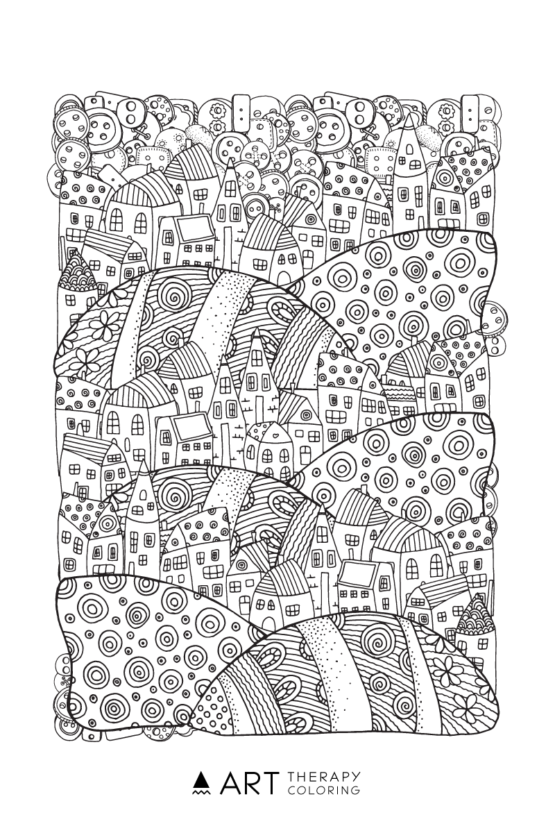 free advanced town scene coloring page for adults art therapy