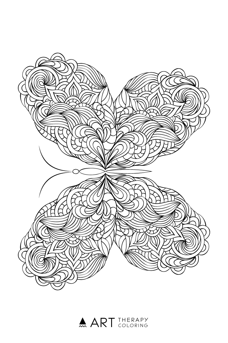 free butterfly coloring page for adults art therapy coloring