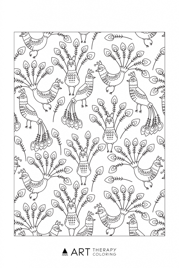 peacock pattern coloring page for adults - Peacock Coloring Pages For Adults