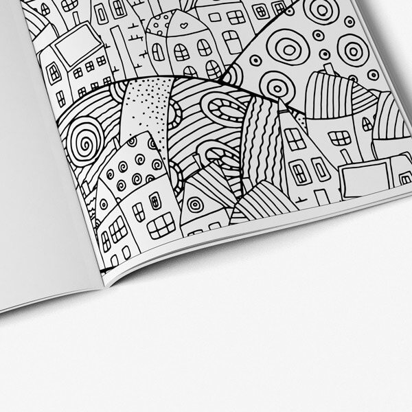 Coloring book for seniors vol 3 city design page 1