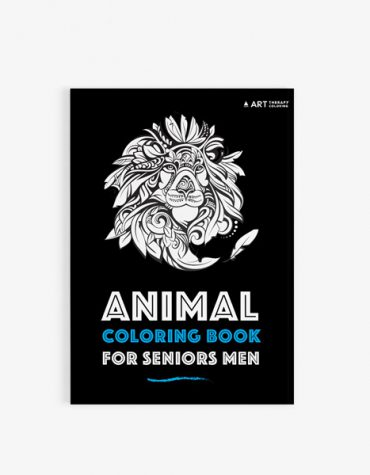Animal coloring book for seniors men front cover