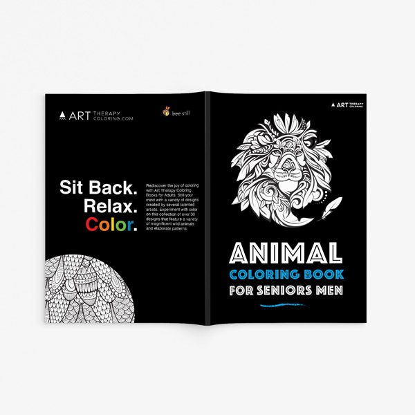 Animal coloring book for seniors men full cover front view