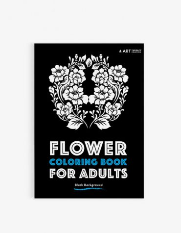 Flower coloring book adults black background30