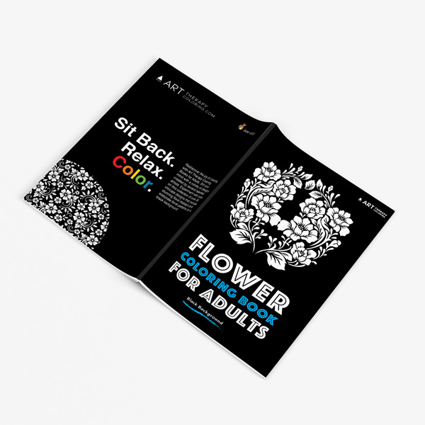 Flower coloring book adults black background32
