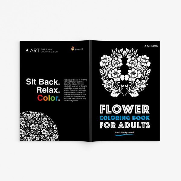 Flower coloring book adults black background33