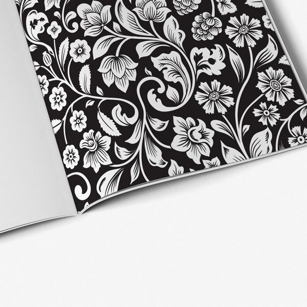 Flower Coloring Book for Adults with Black Background