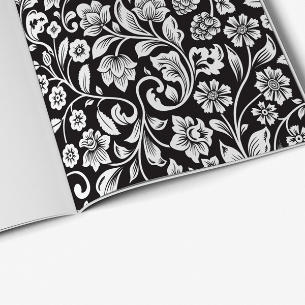 Flower coloring book adults black background37