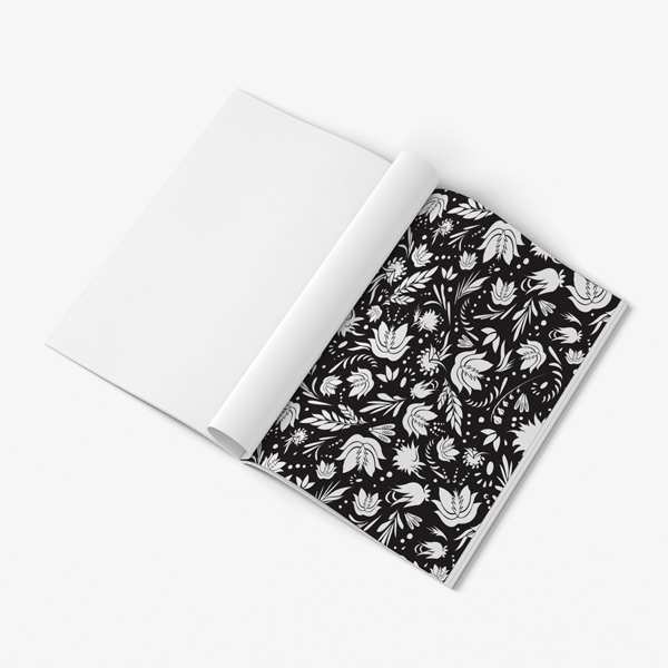 Flower coloring book adults black background48