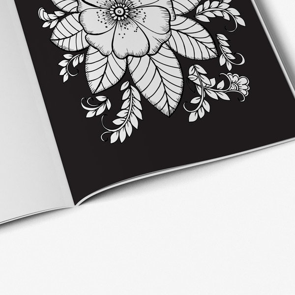 Flower Coloring Book For Adults With Black Background - Art Therapy Coloring