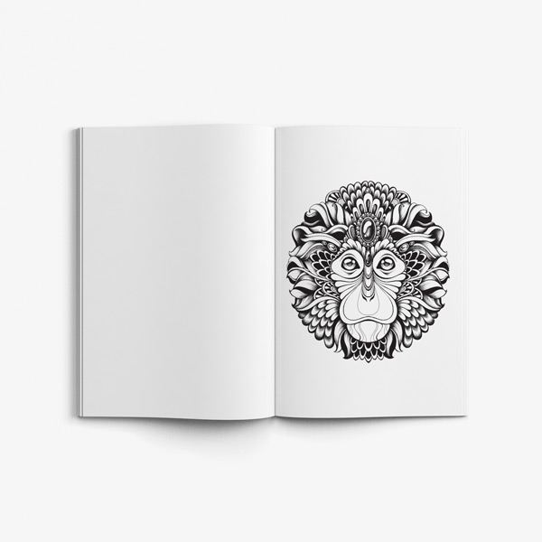 Senior coloring book page monkey design