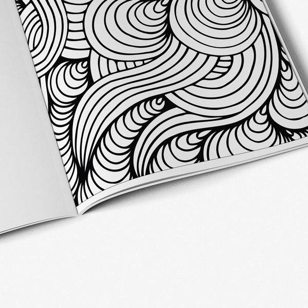 Senior coloring book page swirl design