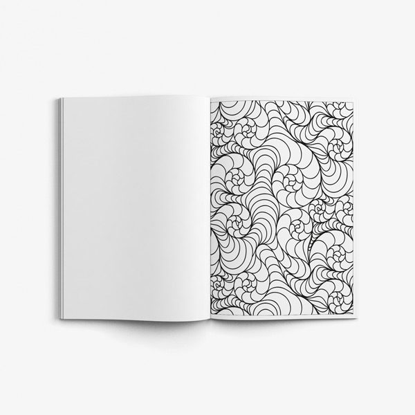 Senior coloring book page swirly design