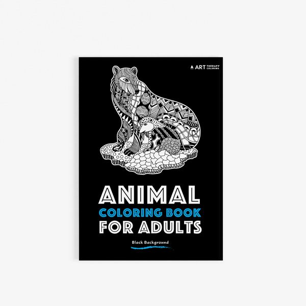 Animal coloring book adults black background 30