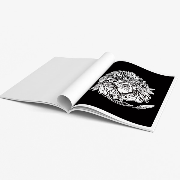 Animal coloring book adults black background 39