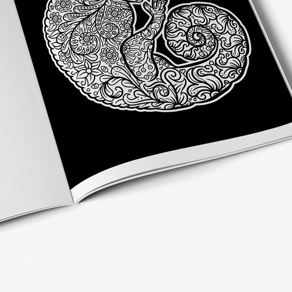 Animal coloring book adults black background 45