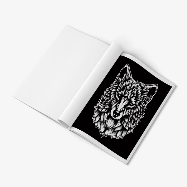 Animal coloring book adults black background 52