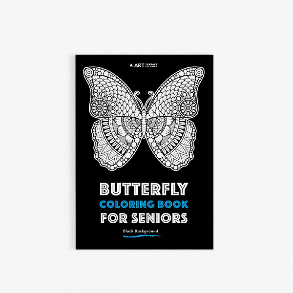 butterfly coloring book for seniors black background 30 - Coloring Books For Seniors