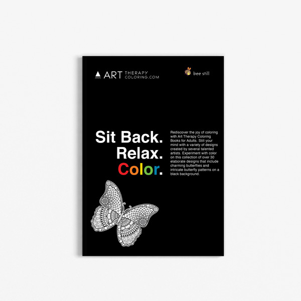 butterfly coloring book for seniors with black background - Coloring Books For Seniors
