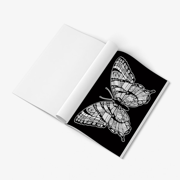 Butterfly coloring book for seniors black background 52
