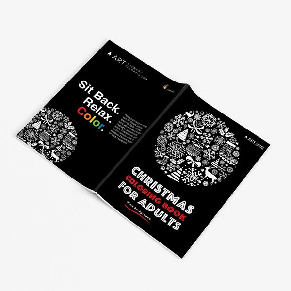 Christmas coloring book adults black background 32