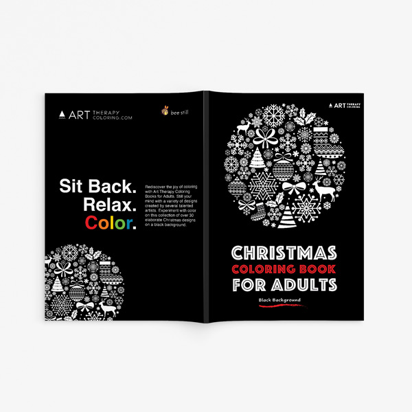 Christmas coloring book adults black background 33