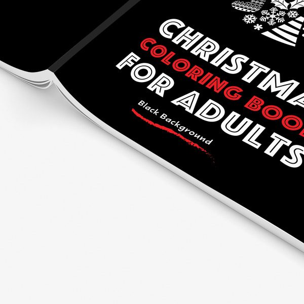 Christmas coloring book adults black background 34