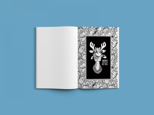 Christmas coloring book adults festival animals28