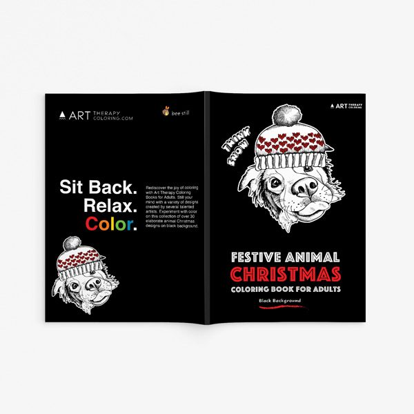Christmas coloring book adults festival animals33