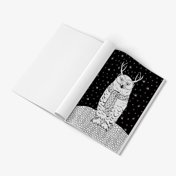 Festive Animal Christmas Coloring Book For Adults: Black Background ...